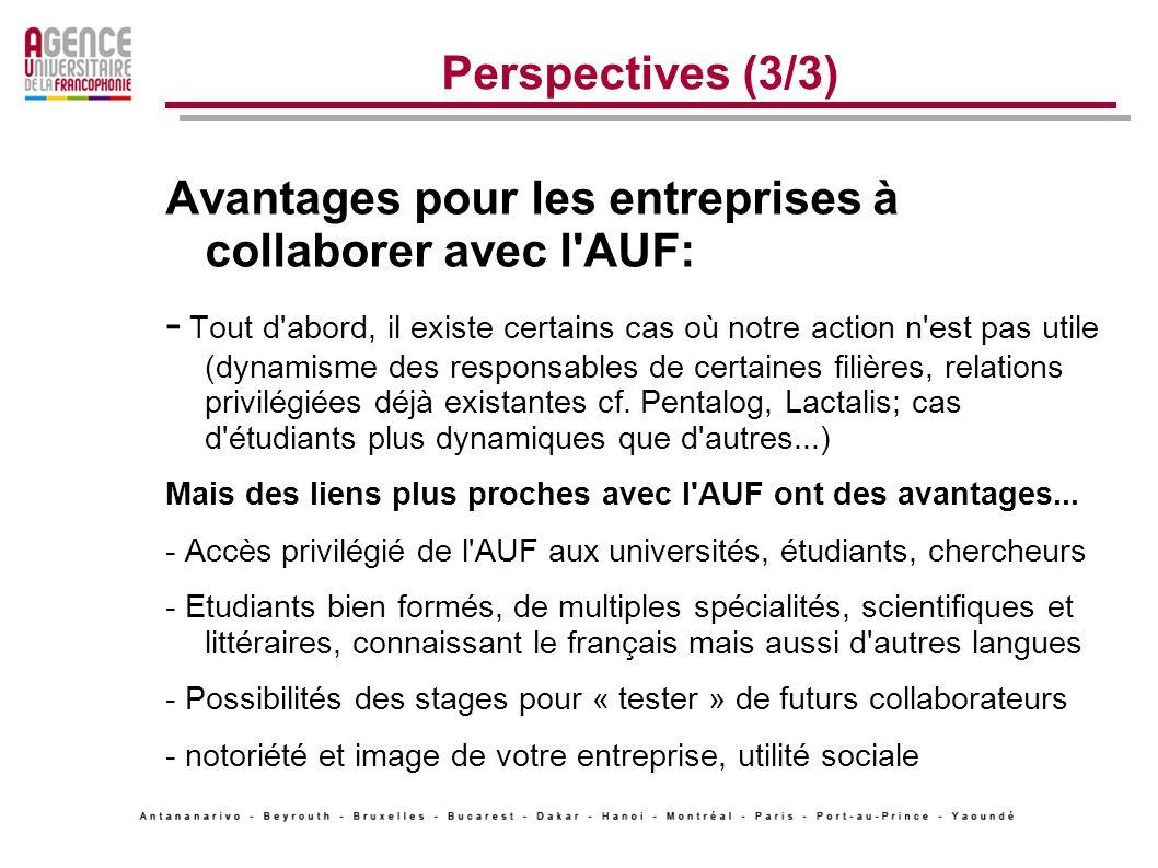 Perspectives (3/3) Avantages pour les entreprises à collaborer avec l AUF: - Tout d abord, il existe certains cas où notre action n est pas utile (dynamisme des responsables de certaines filières, relations privilégiées déjà existantes cf.