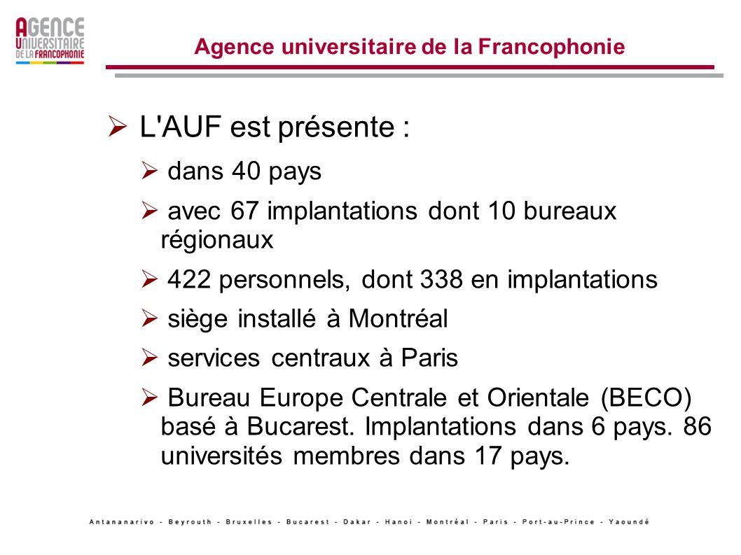 Agence universitaire de la Francophonie L AUF est présente : dans 40 pays avec 67 implantations dont 10 bureaux régionaux 422 personnels, dont 338 en implantations siège installé à Montréal services centraux à Paris Bureau Europe Centrale et Orientale (BECO) basé à Bucarest.