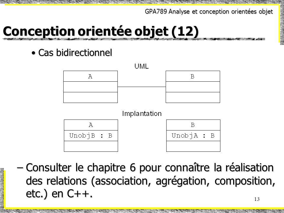 GPA789 Analyse et conception orientées objet 13 Conception orientée objet (12) Cas bidirectionnelCas bidirectionnel –Consulter le chapitre 6 pour conn