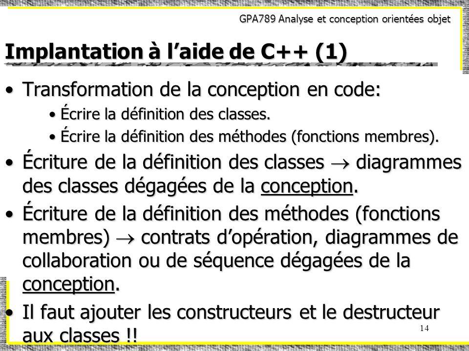 GPA789 Analyse et conception orientées objet 14 Implantation à laide de C++ (1) Transformation de la conception en code:Transformation de la conceptio