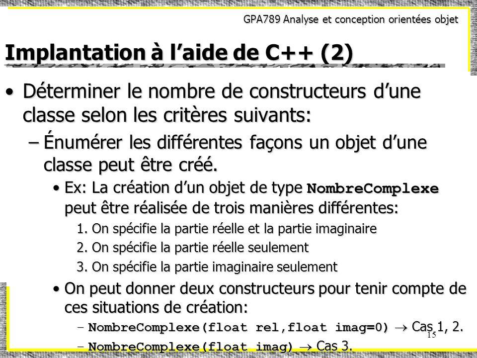 GPA789 Analyse et conception orientées objet 15 Implantation à laide de C++ (2) Déterminer le nombre de constructeurs dune classe selon les critères s