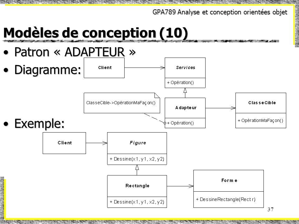 GPA789 Analyse et conception orientées objet 37 Modèles de conception (10) Patron « ADAPTEUR »Patron « ADAPTEUR » Diagramme:Diagramme: Exemple:Exemple