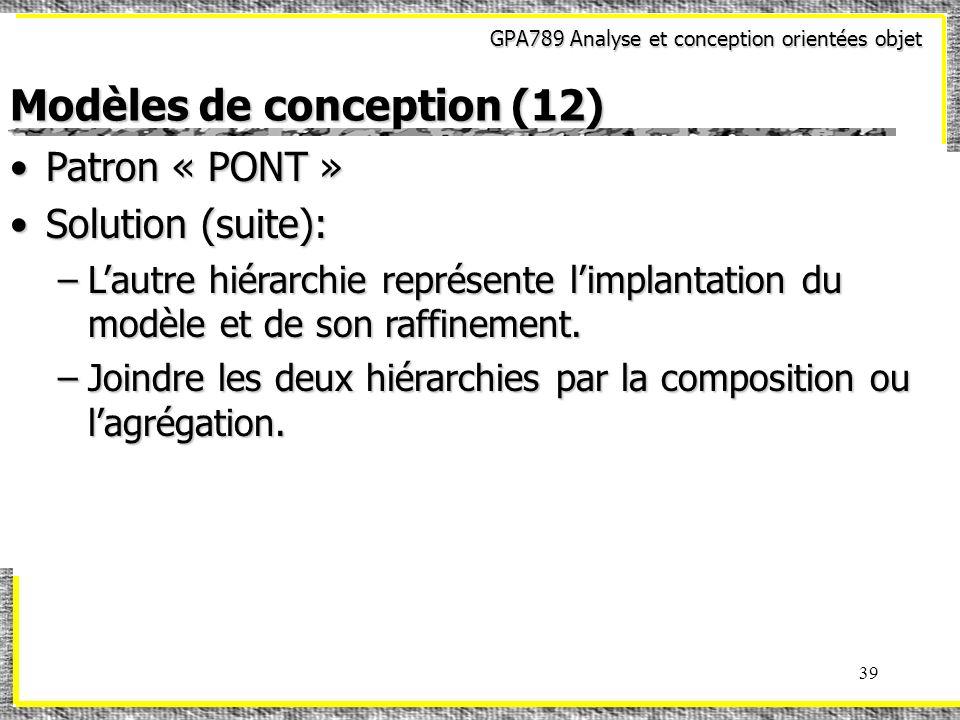 GPA789 Analyse et conception orientées objet 39 Modèles de conception (12) Patron « PONT »Patron « PONT » Solution (suite):Solution (suite): –Lautre h