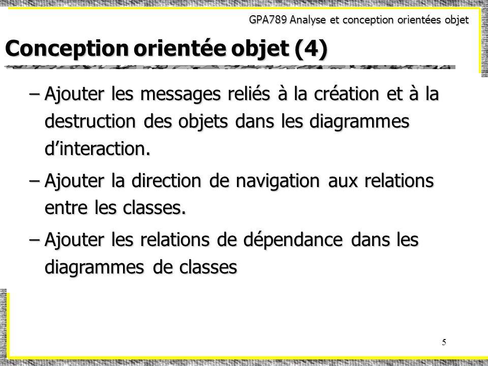 GPA789 Analyse et conception orientées objet 56 Modèles de conception (29) Patron « DÉCORATEUR »Patron « DÉCORATEUR » Exemple:Exemple: Composante *c = new Entete(new PiedPage(new Billet()));