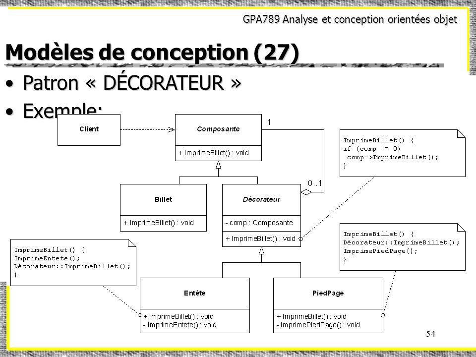 GPA789 Analyse et conception orientées objet 54 Modèles de conception (27) Patron « DÉCORATEUR »Patron « DÉCORATEUR » Exemple:Exemple: