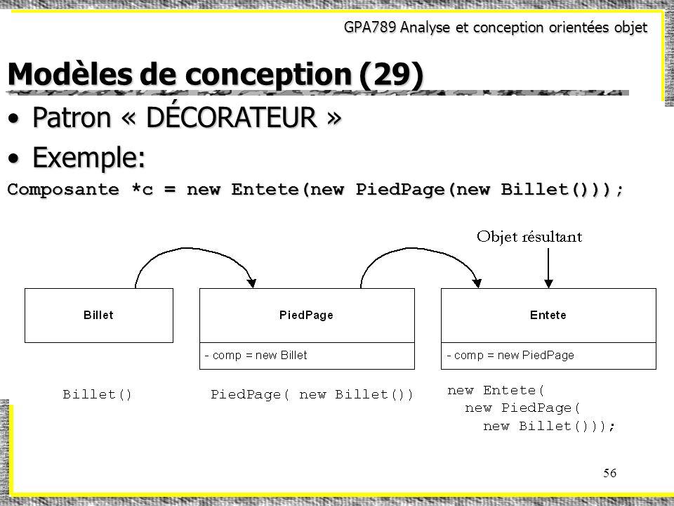 GPA789 Analyse et conception orientées objet 56 Modèles de conception (29) Patron « DÉCORATEUR »Patron « DÉCORATEUR » Exemple:Exemple: Composante *c =