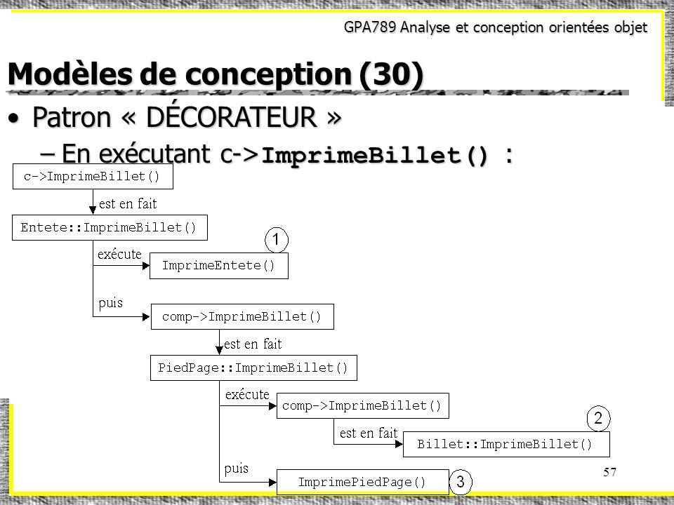 GPA789 Analyse et conception orientées objet 57 Modèles de conception (30) Patron « DÉCORATEUR »Patron « DÉCORATEUR » –En exécutant c-> ImprimeBillet(
