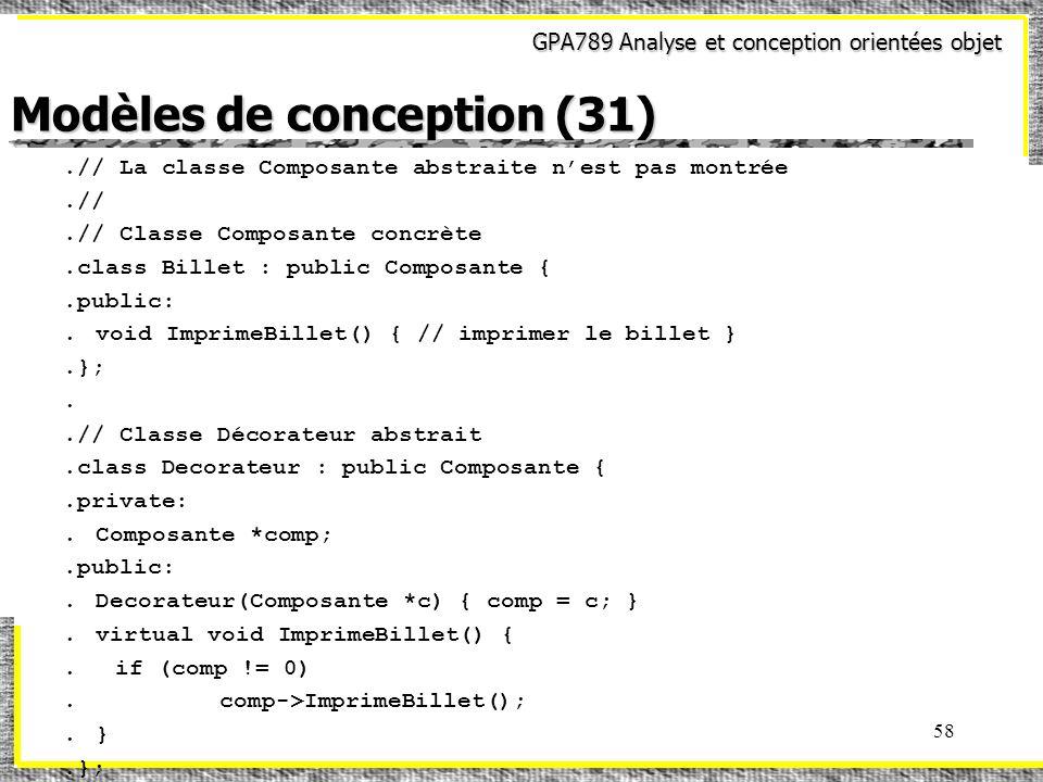 GPA789 Analyse et conception orientées objet 58 Modèles de conception (31).// La classe Composante abstraite nest pas montrée.//.// Classe Composante