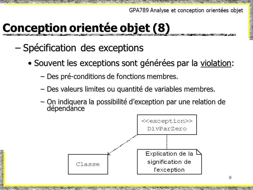 GPA789 Analyse et conception orientées objet 9 Conception orientée objet (8) –Spécification des exceptions Souvent les exceptions sont générées par la