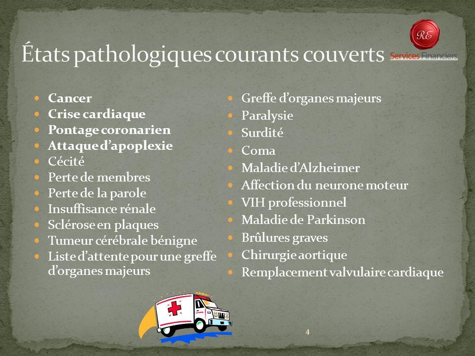 4 Cancer Crise cardiaque Pontage coronarien Attaque dapoplexie Cécité Perte de membres Perte de la parole Insuffisance rénale Sclérose en plaques Tume