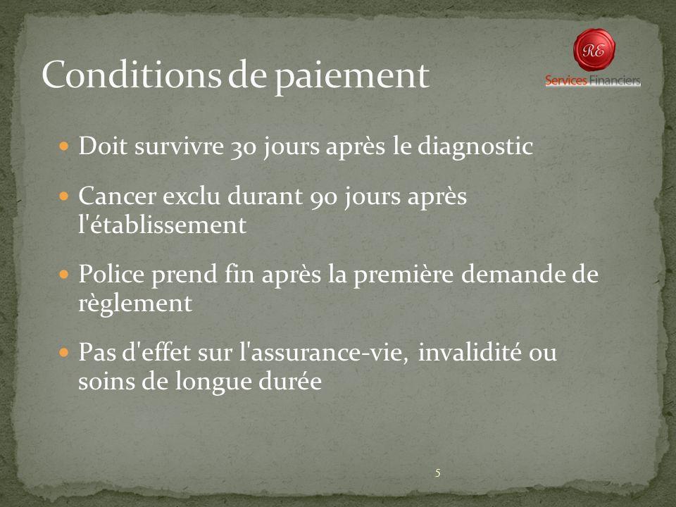 5 Doit survivre 30 jours après le diagnostic Cancer exclu durant 90 jours après l'établissement Police prend fin après la première demande de règlemen