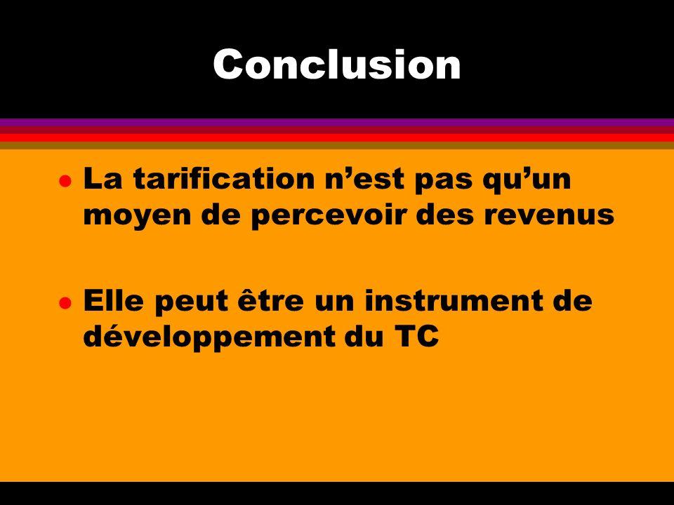 Conclusion l La tarification nest pas quun moyen de percevoir des revenus l Elle peut être un instrument de développement du TC
