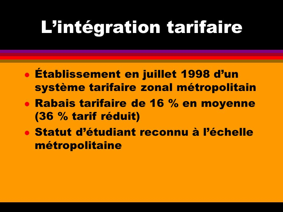 Lintégration tarifaire l Établissement en juillet 1998 dun système tarifaire zonal métropolitain l Rabais tarifaire de 16 % en moyenne (36 % tarif réduit) l Statut détudiant reconnu à léchelle métropolitaine