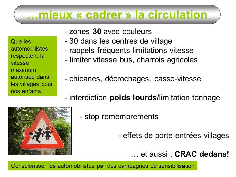 Que les automobilistes respectent la vitesse maximum autorisée dans les villages pour nos enfants. - zones 30 avec couleurs - 30 dans les centres de v