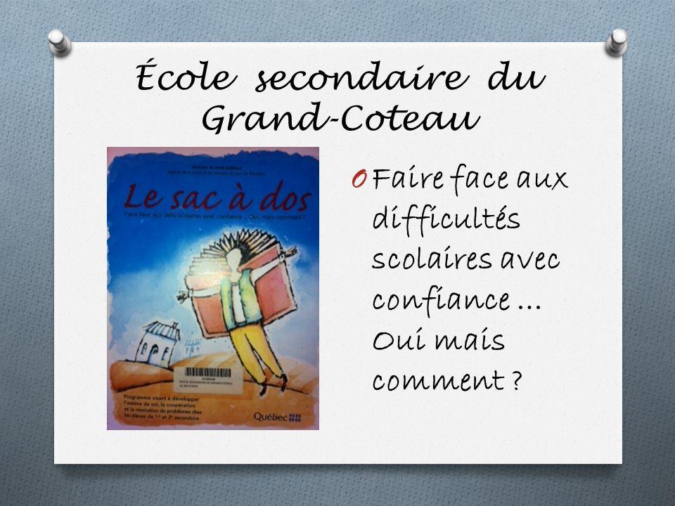 École secondaire du Grand-Coteau O Faire face aux difficultés scolaires avec confiance … Oui mais comment ?