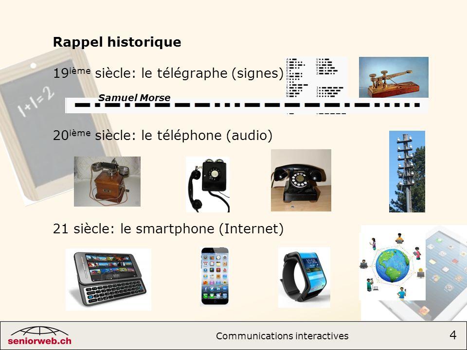Rappel historique 19 ième siècle: le télégraphe (signes) 20 ième siècle: le téléphone (audio) 21 siècle: le smartphone (Internet) Samuel Morse 4 Communications interactives 4