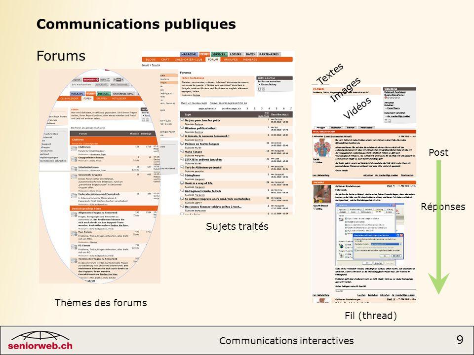 Thèmes des forums Sujets traités Fil (thread) Textes Images Vidéos Post Réponses 9 Communications interactives 9