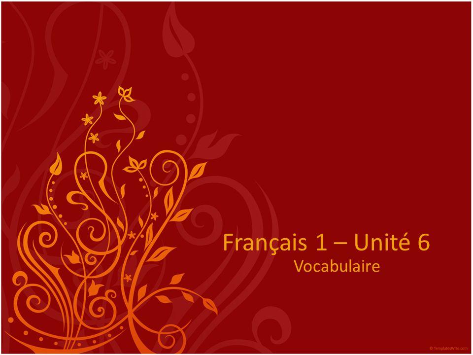 Français 1 – Unité 6 Vocabulaire
