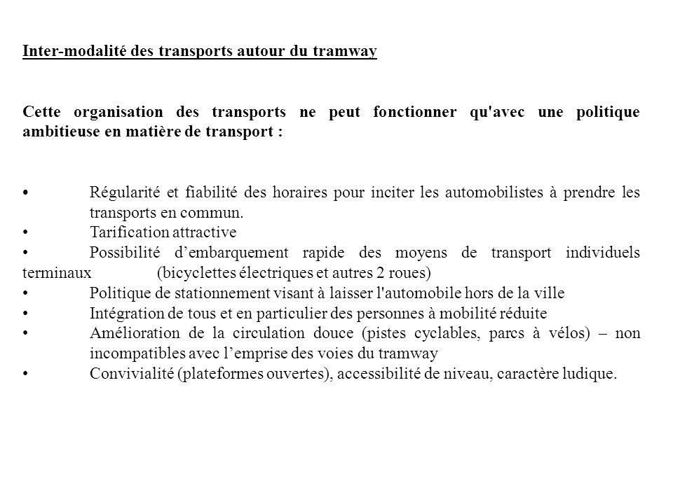 Inter-modalité des transports autour du tramway Cette organisation des transports ne peut fonctionner qu'avec une politique ambitieuse en matière de t