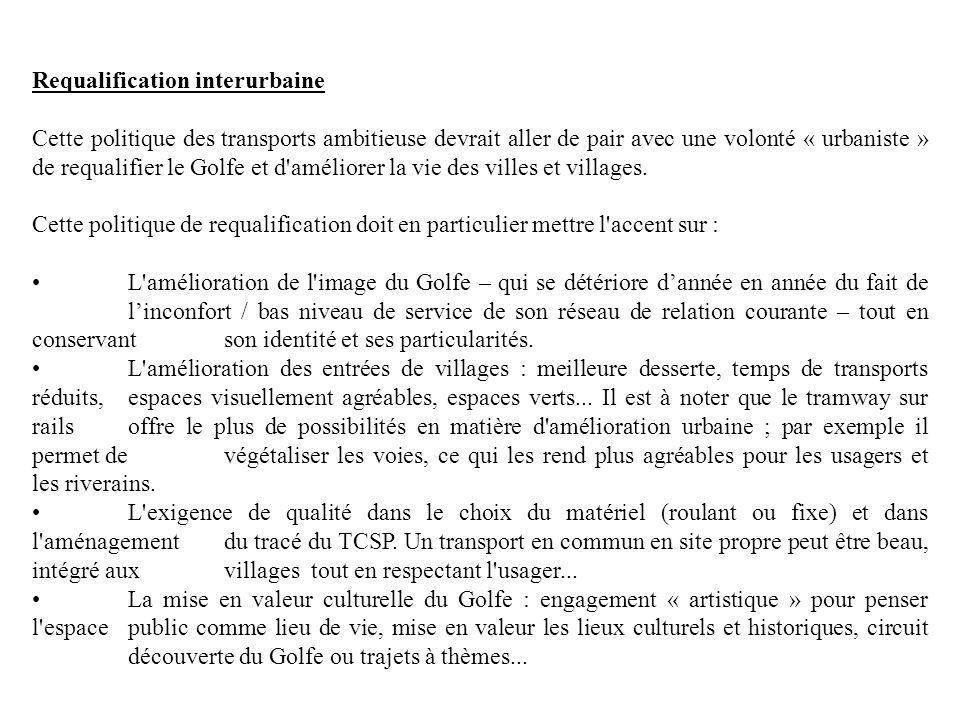 Requalification interurbaine Cette politique des transports ambitieuse devrait aller de pair avec une volonté « urbaniste » de requalifier le Golfe et