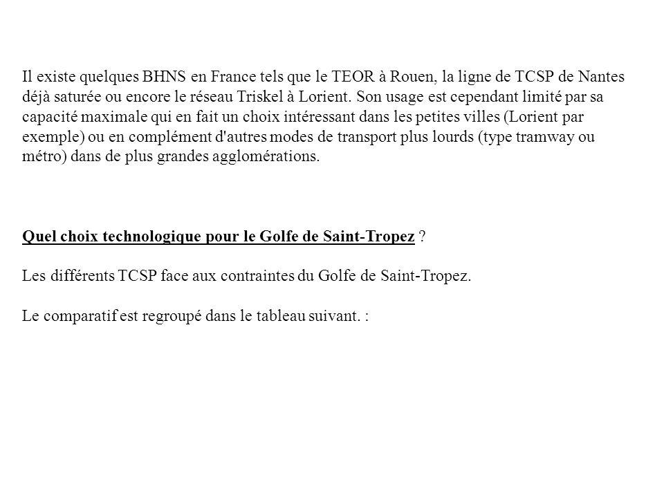 Il existe quelques BHNS en France tels que le TEOR à Rouen, la ligne de TCSP de Nantes déjà saturée ou encore le réseau Triskel à Lorient. Son usage e