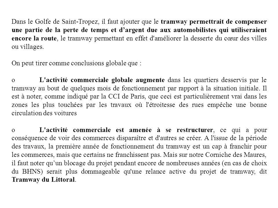 Dans le Golfe de Saint-Tropez, il faut ajouter que le tramway permettrait de compenser une partie de la perte de temps et dargent due aux automobilist
