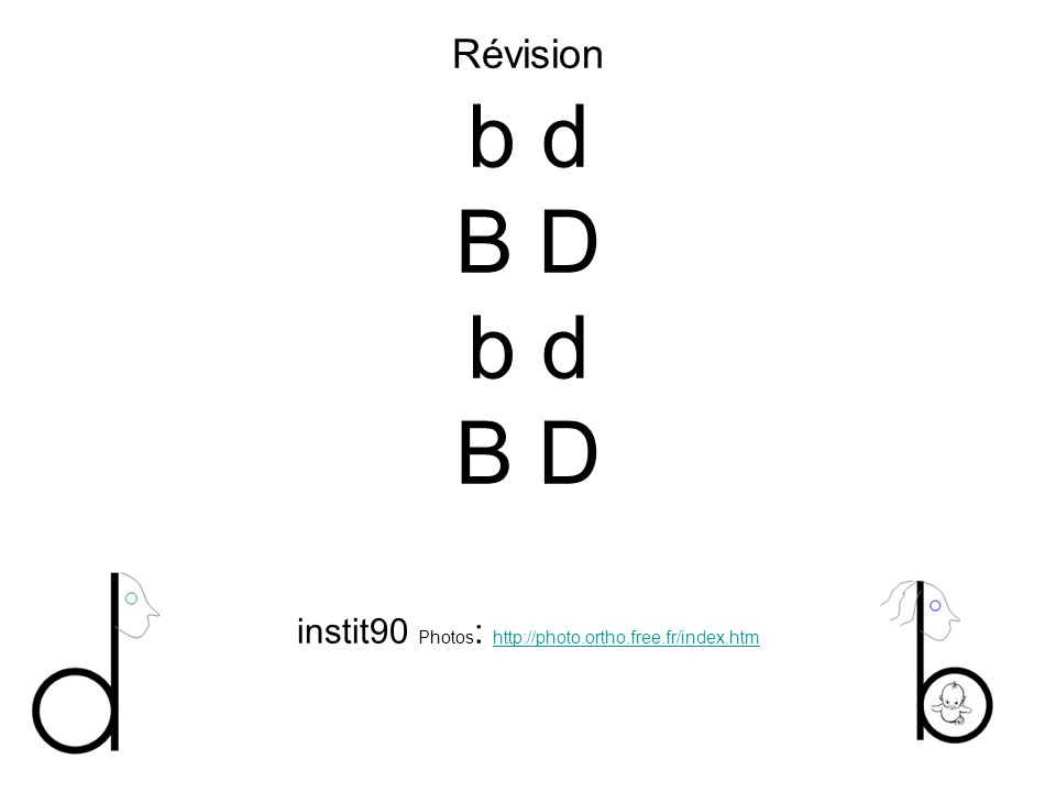 Révision b d B D b d B D instit90 Photos : http://photo.ortho.free.fr/index.htm http://photo.ortho.free.fr/index.htm