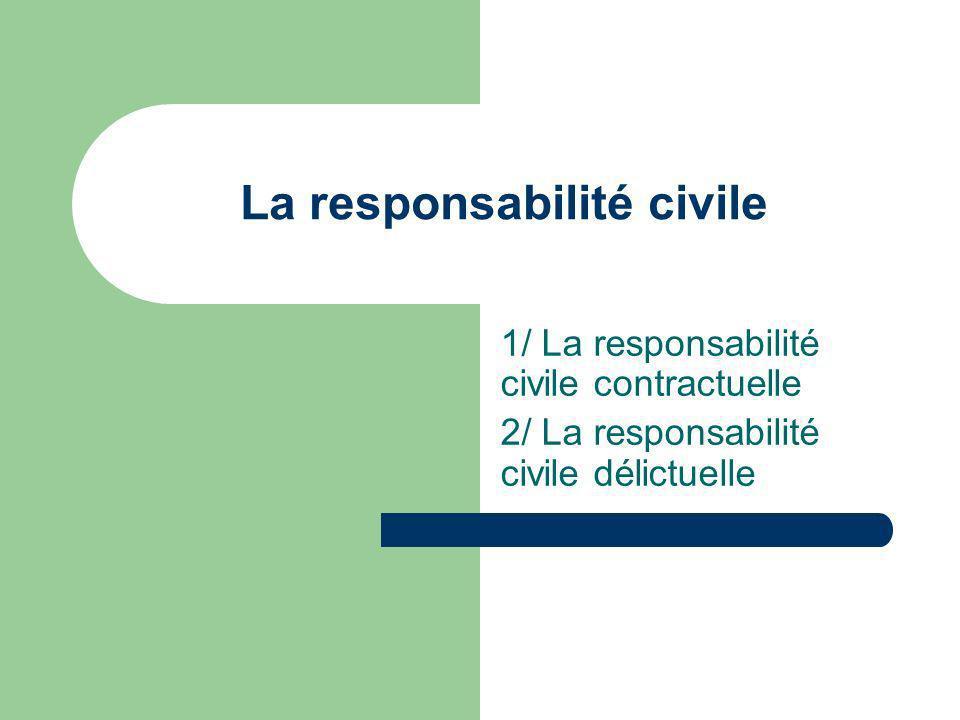 La responsabilité civile 1/ La responsabilité civile contractuelle 2/ La responsabilité civile délictuelle