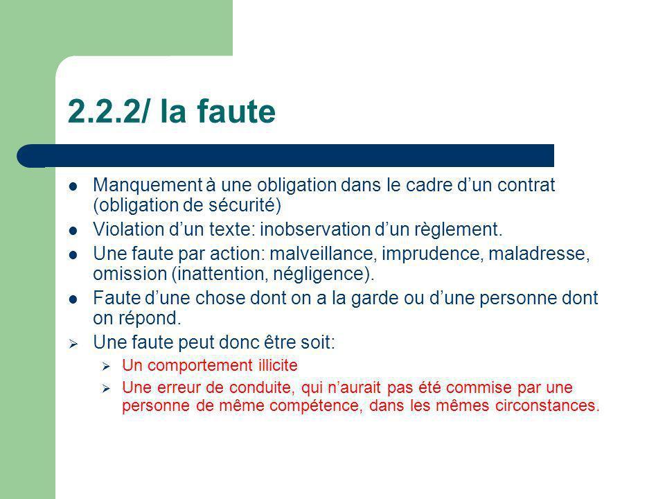 2.2.2/ la faute Manquement à une obligation dans le cadre dun contrat (obligation de sécurité) Violation dun texte: inobservation dun règlement.