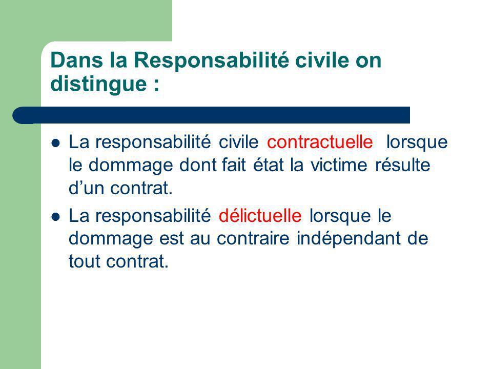 Dans la Responsabilité civile on distingue : La responsabilité civile contractuelle lorsque le dommage dont fait état la victime résulte dun contrat.