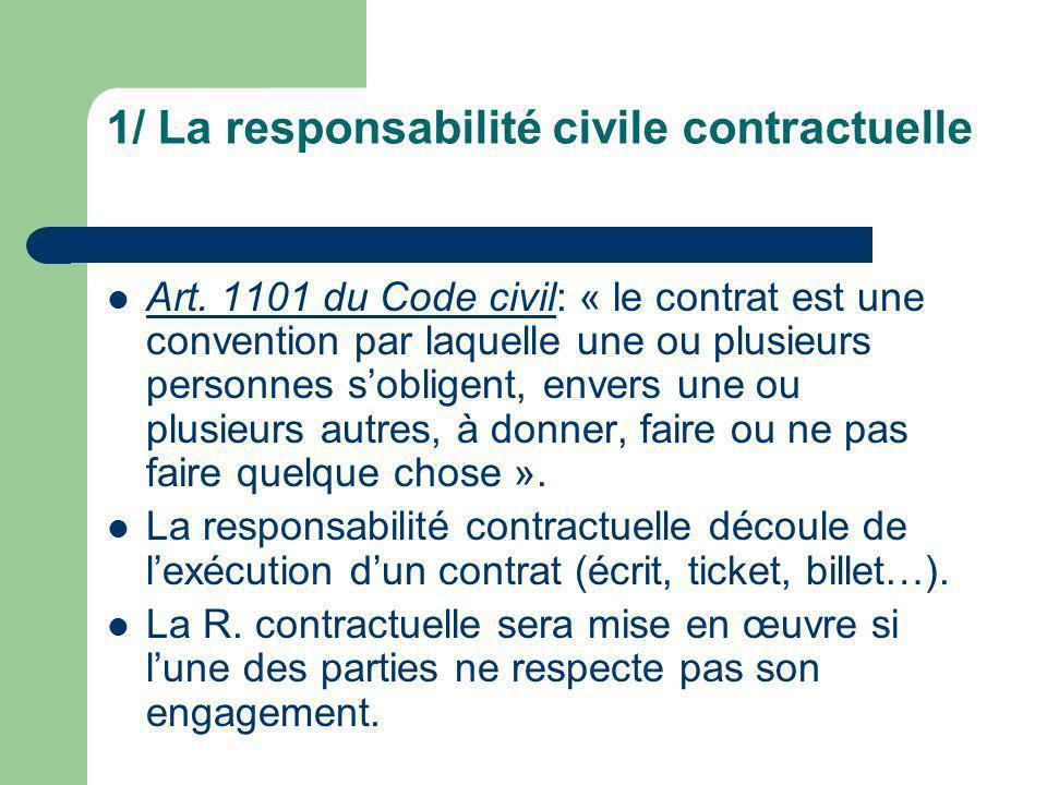 1/ La responsabilité civile contractuelle Art. 1101 du Code civil: « le contrat est une convention par laquelle une ou plusieurs personnes sobligent,