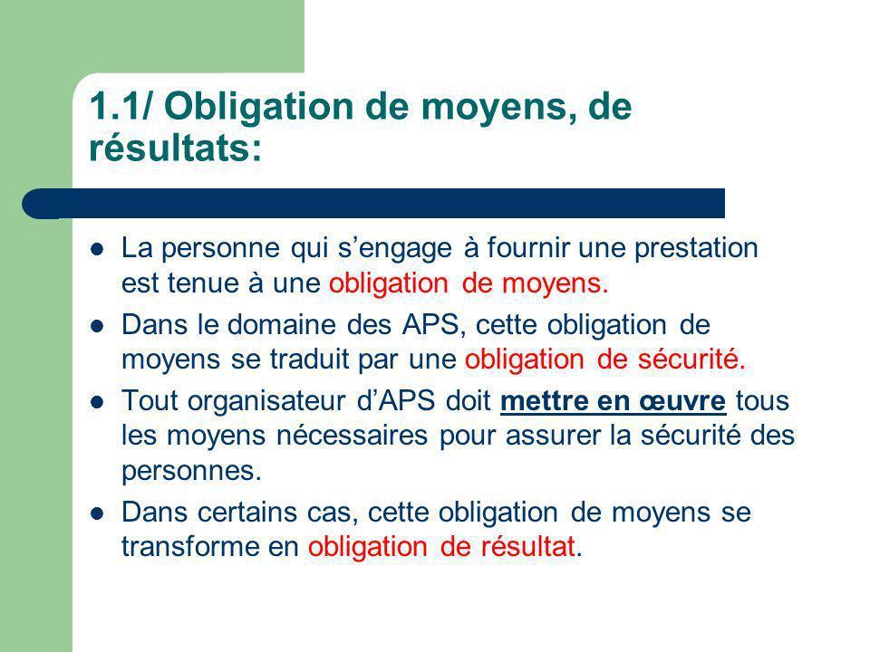1.1/ Obligation de moyens, de résultats: La personne qui sengage à fournir une prestation est tenue à une obligation de moyens. Dans le domaine des AP
