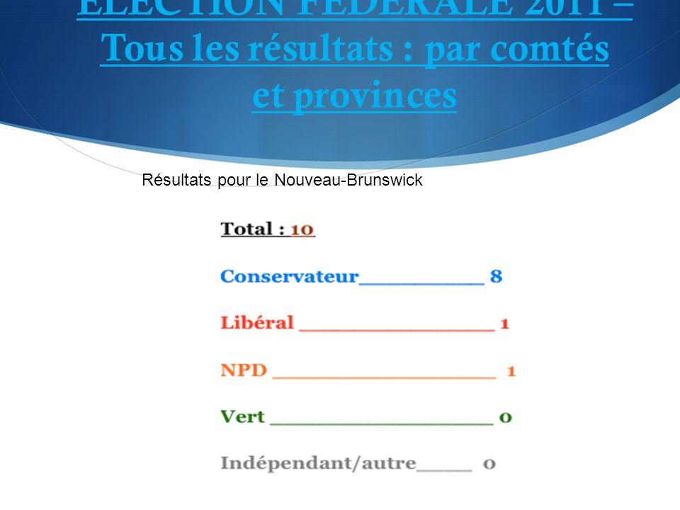ÉLECTION FÉDÉRALE 2011 – Tous les résultats : par comtés et provinces Résultats pour le Nouveau-Brunswick