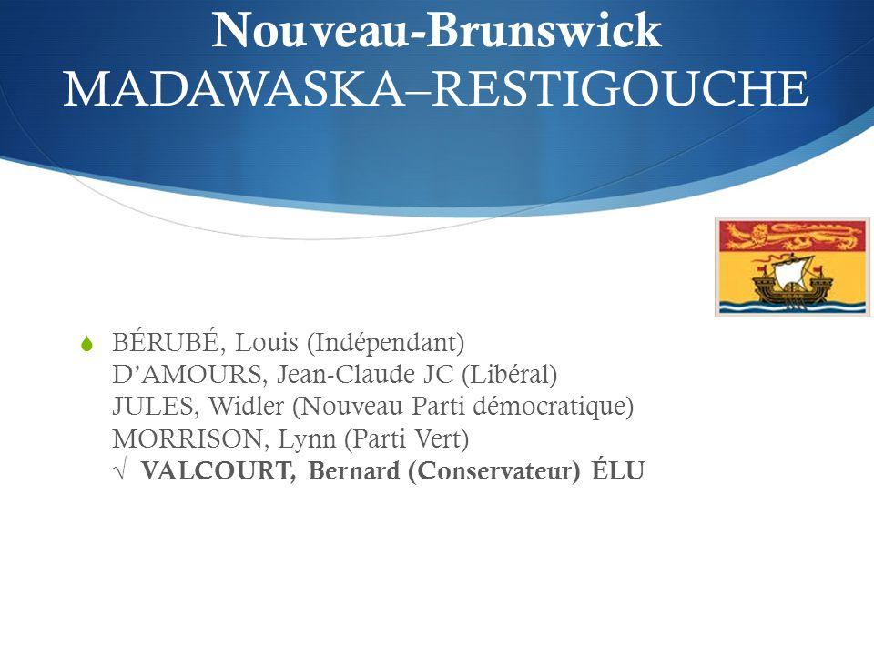 Nouveau-Brunswick MADAWASKA–RESTIGOUCHE BÉRUBÉ, Louis (Indépendant) DAMOURS, Jean-Claude JC (Libéral) JULES, Widler (Nouveau Parti démocratique) MORRISON, Lynn (Parti Vert) VALCOURT, Bernard (Conservateur) ÉLU