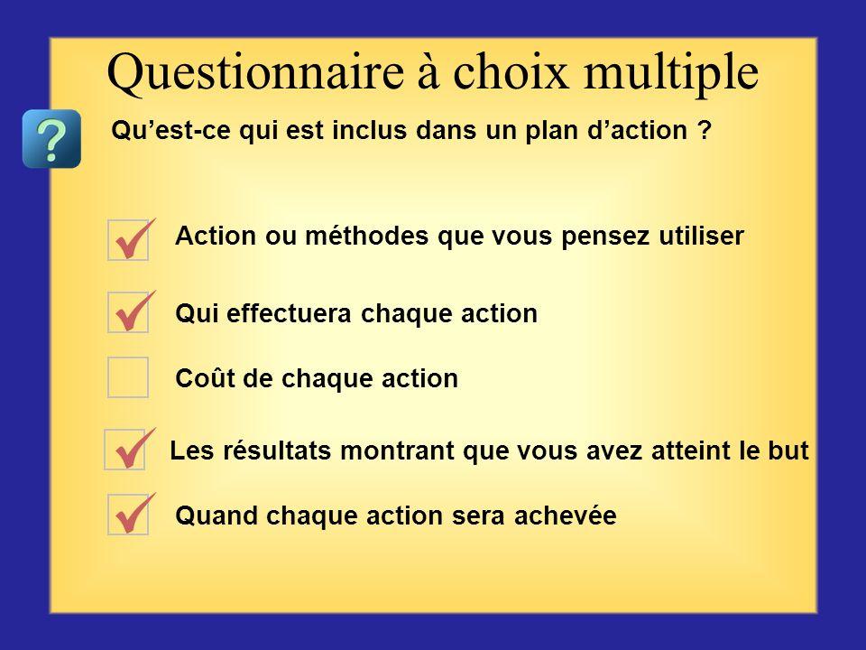 Exprimer un changement voulu sans plan détaillé Un résultat étant déclaré, spécifique, mesurable et voulu à une date précise Un plan détaillé de comme