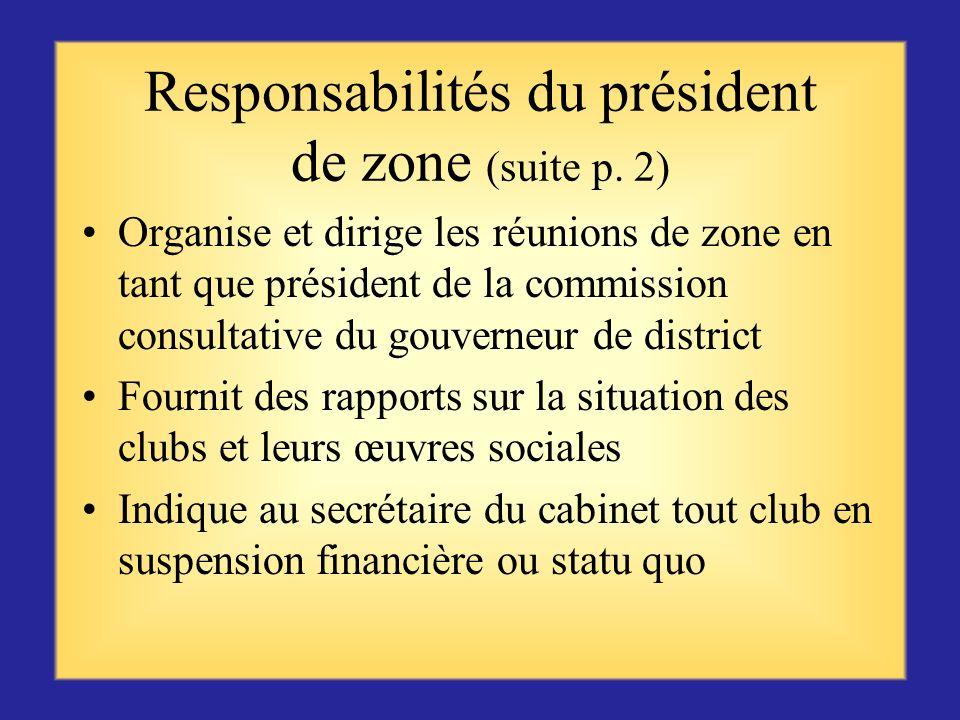 Responsabilités du président de zone Participe aux réunions en tant que membre du cabinet de district Contrôle la situation et le statut des clubs de