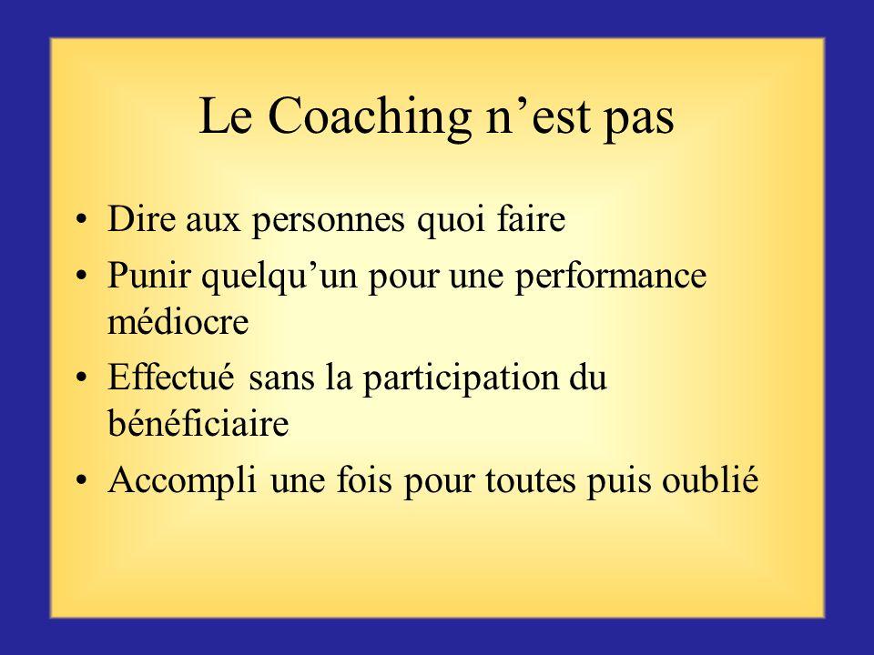 Le Coaching Le Coaching peut signifier valoriser et renforcer les bonnes performances pour quelles se poursuivent, ou apporter un soutien quand les ré