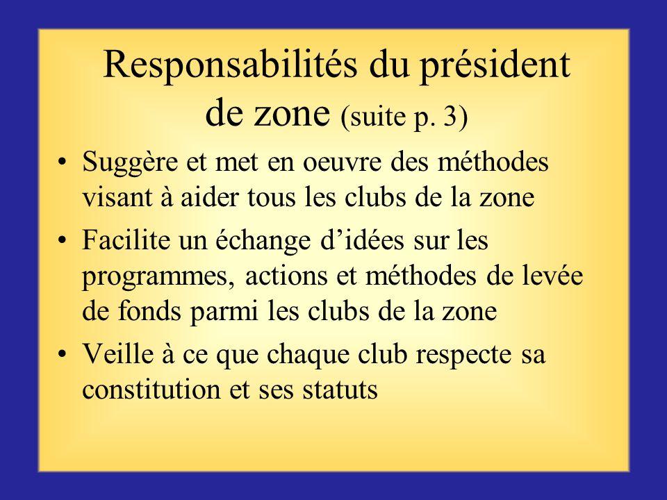 Responsabilités du président de zone (suite p. 2) Organise et dirige les réunions de zone en tant que président de la commission consultative du gouve
