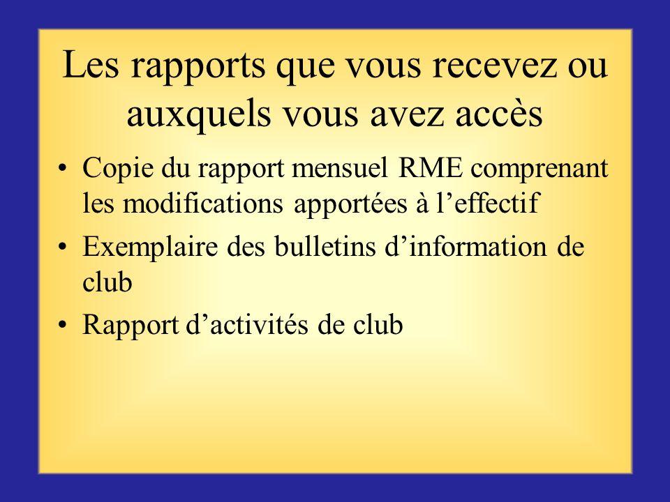 Les rapports que vous transmettez Les rapports de visite de club fournissent des informations de valeur au gouverneur de district Analyse et résumé du