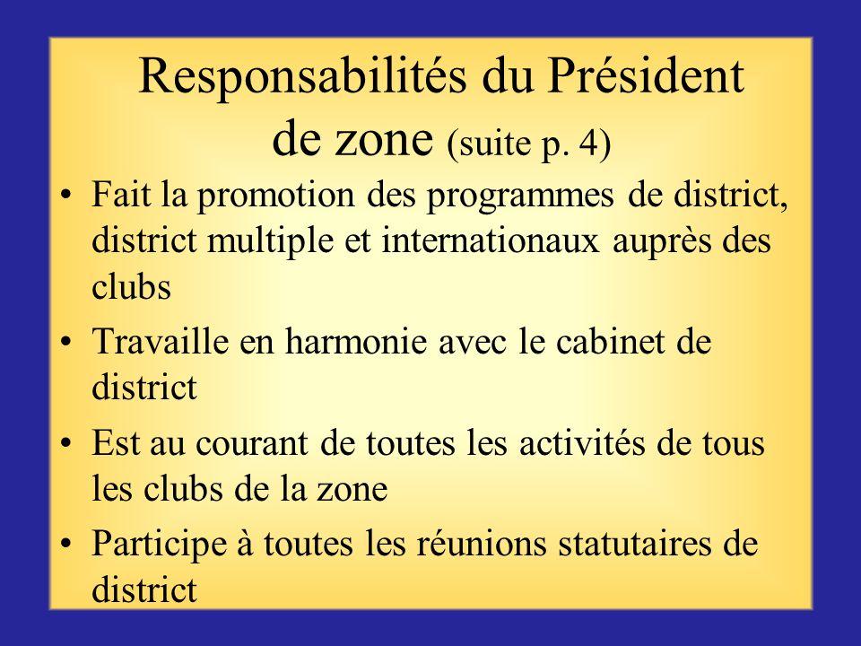 Responsabilités du président de zone (suite p. 3) Suggère et met en oeuvre des méthodes visant à aider tous les clubs de la zone Facilite un échange d