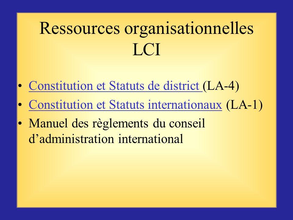 Ressources LCI sur leffectif (suite) Commission de leffectif (ME 29) Le parrainage est une responsabilité importante (ME21)Le parrainage est une respo