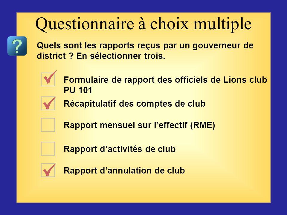 Formulaire de rapport des officiels de Lions club PU 101 Récapitulatif des comptes de club Rapport mensuel sur leffectif (RME) Rapport dactivités de c