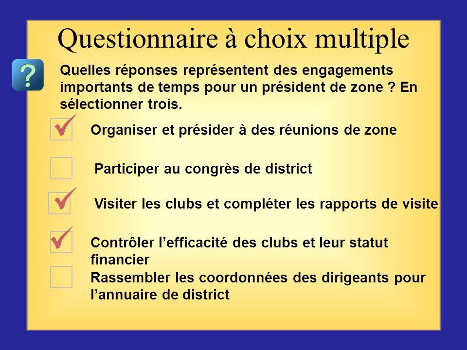 Participer aux réunions Communiquer linformation Conseiller ou coacher Coordonner léquipement Motiver les officiels de club Questionnaire à choix mult