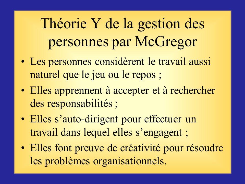 Théorie X de la gestion des personnes par McGregor Les gens naiment pas le travail et léviteront Il faut forcer les gens à travailler en les menaçant