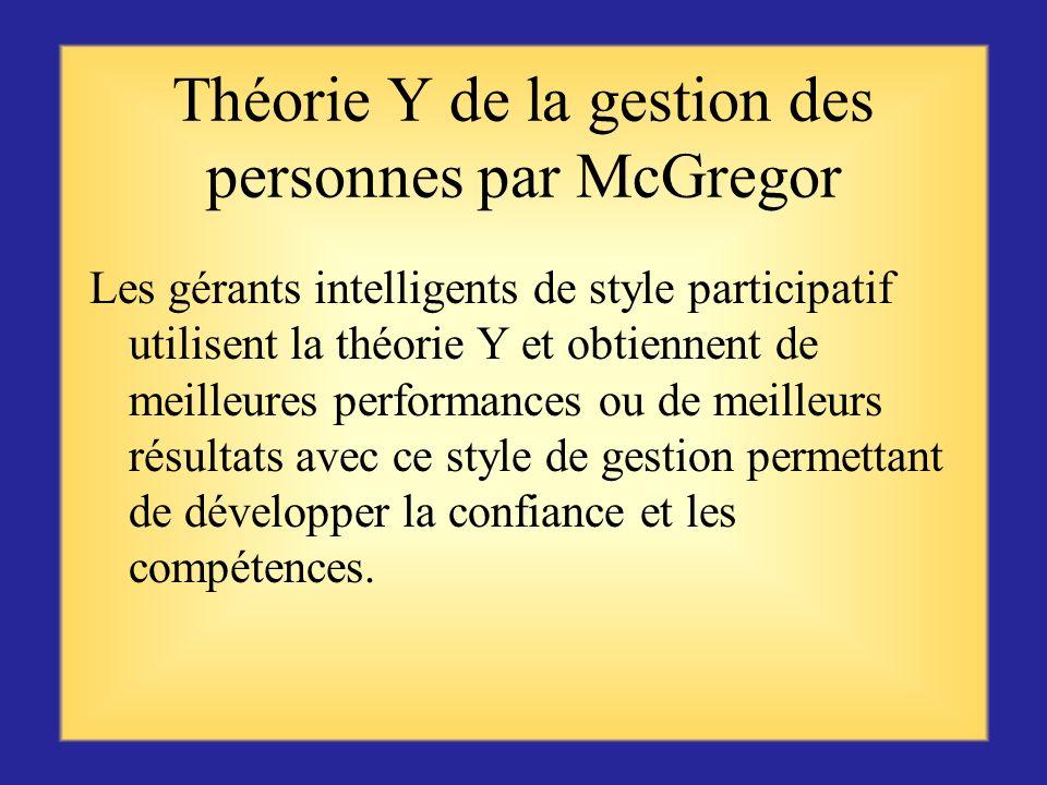 Théorie Y de la gestion des personnes par McGregor Les personnes considèrent le travail aussi naturel que le jeu ou le repos ; Elles apprennent à acce
