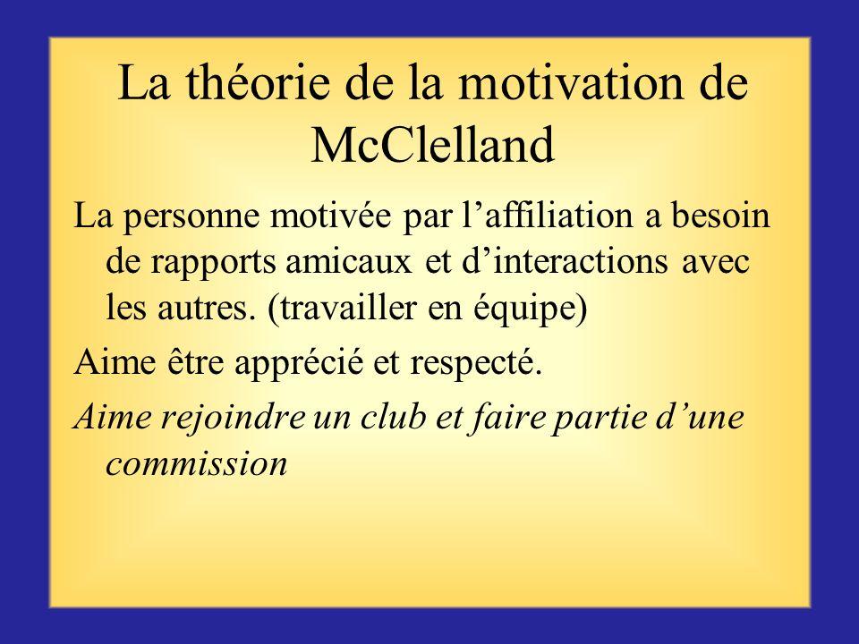 Théorie de la motivation de David McClelland Au cours de ses 20 années de recherche, McClelland a identifié trois types de besoins motivationnels : la