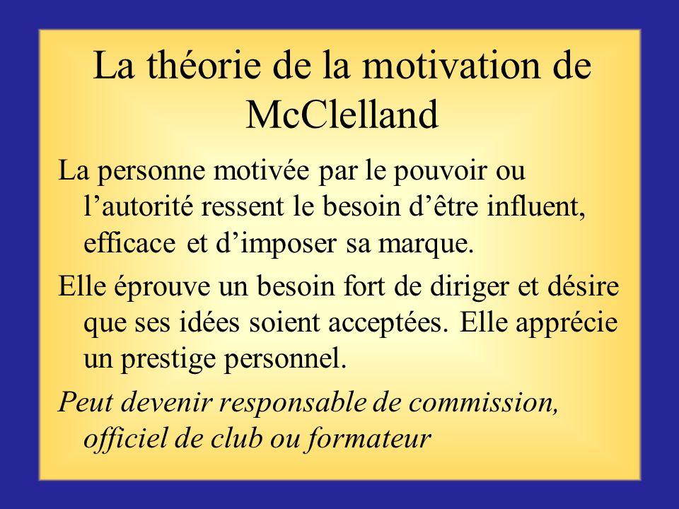 La théorie de la motivation de McClelland La personne motivée par la réussite cherche à atteindre des objectifs réalistes mais ambitieux, et à monter