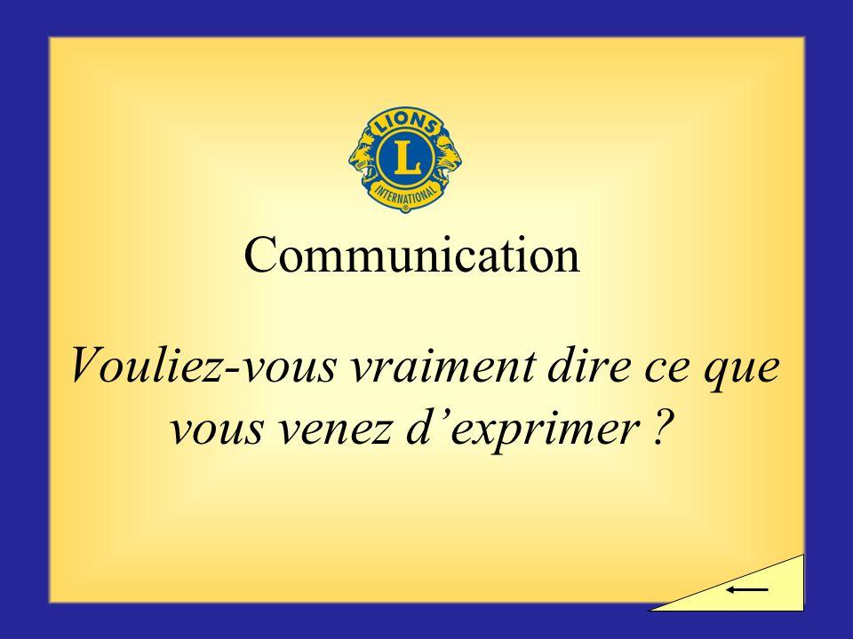 Pause ? Voulez-vous observer une pause avant dentamer la section suivante sur la communication ?