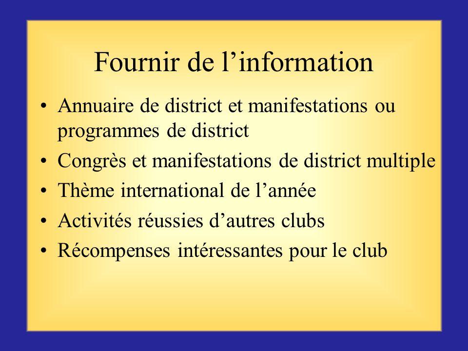 Communication – Compétence importante pour le président de zone Comment allez-vous communiquer avec les clubs ? Fournir de linformation Communiquer ré