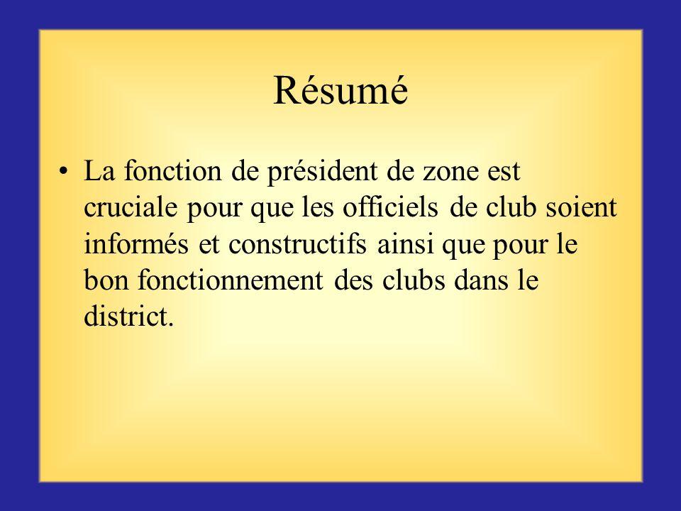 Première ressource pour les clubs Vous-même, en tant que président de zone, représentez la première ressource pour les clubs de votre zone. Maintenez